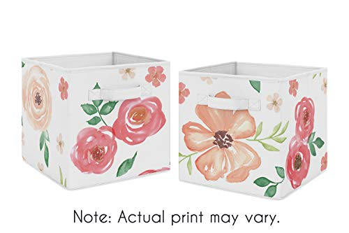 Sweet Jojo Designs Peach and Green Watercolor Floral Organizer Storage Bins for Collection - Set of 2 - Pink Rose - Floral Cube