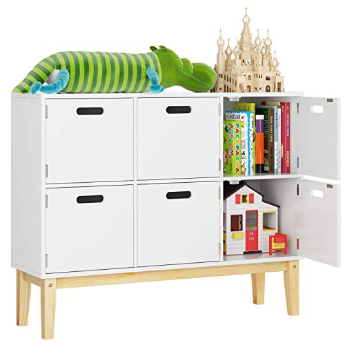 - HOMECHO 6 Cubby Door Wood Kids Floor Toy Book Storage Organizer Cabinet for Children Bookcase Bookshelf Kids Furniture for Boy Girl Playroom, Console Table Hallway Storage, White Color HMC-MD-008