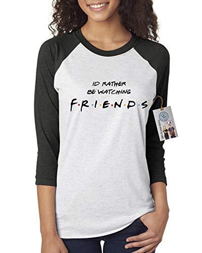 Custom Apparel R Us I Rather Be Watching Friends TV ShowWomens Raglan Shirt Black White 3XL ()
