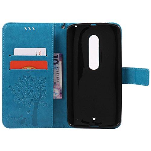 Erdong® funda Para Motorola Moto X Play, Flip Book-style Superior PU de la carpeta de cuero de diseño [Grabado en relieve árbol] Con la función del soporte y ranuras titular de la tarjeta para Motorol Azul