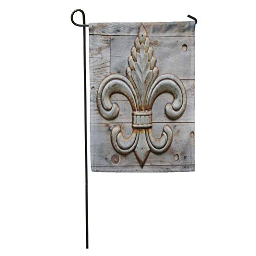 Semtomn Garden Flag Orleans Tin Fleur De Lis Detail Metal Pattern Vintage Flower Home Yard House Decor Barnner Outdoor Stand 12x18 Inches Flag