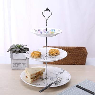 DHmart Creative marble ceramic dishes Nordic home dessert cake plate afternoon tea cutlery Three-tier wedding birthday fruit plate