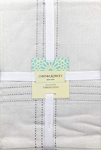 Cynthia Rowley Fabric Tablecloth Solid Cream/Ivory with Woven Silver Lurex Thread Stripes - 60 Inches x 120 Inches