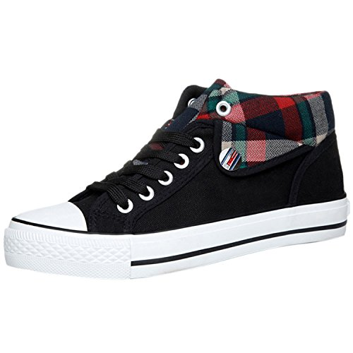 Azbro Fashion Lace-up Plaid Canvas Woman Sneakers, Black EURO38/US7/UK5