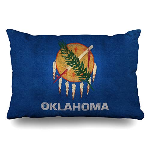 Ahawoso Throw Pillow Cover Queen 20x30 Country American Oklahoma State America Dirty Emblem Grungy Heritage Cushion Case Home Decor Pillowcase