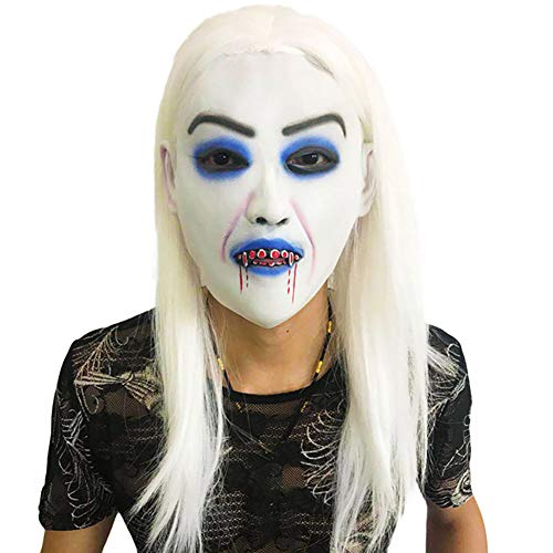 Horror White-haired Masks for Women Girls Halloween Cosplay Costume Props Scary Mask