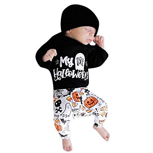 MOONHOUSE Infant Toddler Girls Boys❤️❤️Halloween Letter Cosplay Costume Romper Jumpsuit Pants Clothes Set (0-6 m, Black)