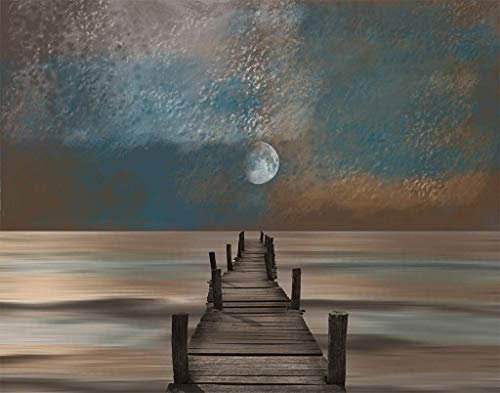 Coastal Decor, Brown Blue Ocean Moon, Beach Pier 11x14 Print with 16x20 White Mat *Goes inside a 16x20 Inch Frame* Horizontal ()