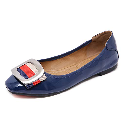 Casuales Mujer Piel Zapatos Moda Hnm Para Mocasines Blue Ballet Zapatillas Transpirables De Plano Loafers Cómodos Bailarinas T0TqBtwOp