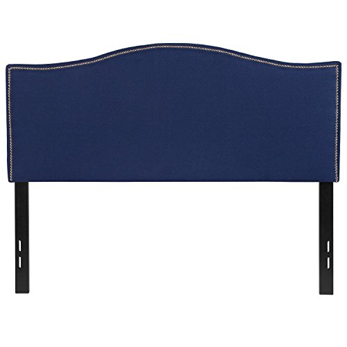 (Flash Furniture Lexington Upholstered Full Size Headboard with Decorative Nail Trim in Navy Fabric - HG-HB1707-F-N-GG )