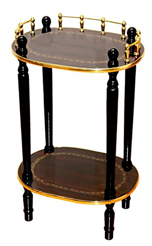 Uniquewise(TM) 2-Tiered Telephone Table, Gold Marble and Cherry Finish (Espresso Brown) ()