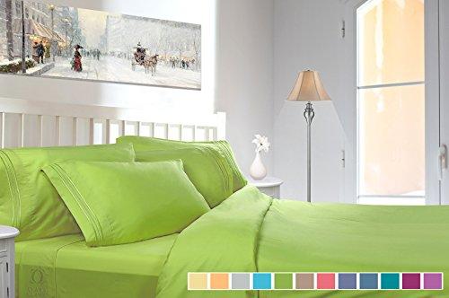 Green Collection Garden (Clara Clark Bed Sheet Set - Brushed Microfiber Premier Collection 1800 Series 3 Piece Bed Set - Wrinkle & Fade Resistant, Hypoallergenic, Twin, Garden Green)