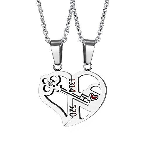 (HUANIAN His&Hers Stainless Steel Key to Love Matching Half of Heart 520 Pendant Necklace for Couples)