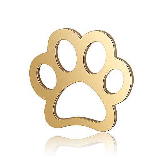 MegaPet 10pcs Titanium Golden Dog Paw Print Steel Links Paw Pendants Pet Collar Charms for DIY Necklace Making Gifts Memorial 11x12x0.8mm