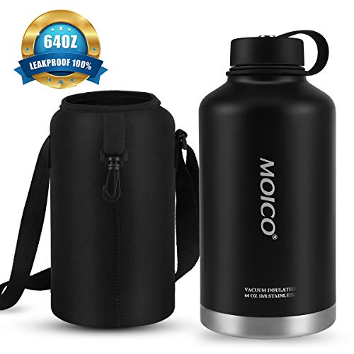 64oz Stainless Steel Water Bottle, MOICO Double Wall Vacuum Insulated Water Bottle, Keeps Cold 24 Hours & Hot 12 Hours, BPA Free Leak Proof Wide Mouth with Carry Bag