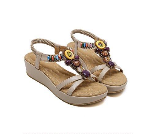 Ruanlei@Sandalias/Sandalias de Playa Para Mujer/Sandalias y chanclas/Sandalias planas/Sandalias casuales Zapatos de playaUna pendiente con un gran código biselado apricot