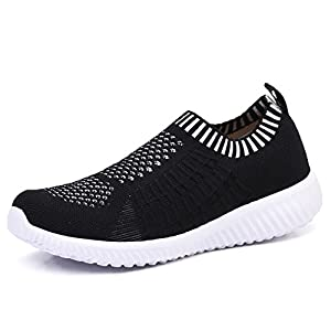 TIOSEBON Women's Athletic Shoes Casual Mesh Walking Sneakers - Breathable Running Shoes 9.5 US Black