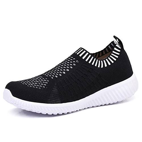 TIOSEBON Women's Athletic Walking Shoes Casual Mesh-Comfortable Work Sneakers 9.5 US Black (Classic Flat Knit Sock)
