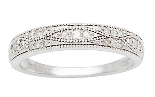 (Instagems 10k White Gold Milgrain Diamond Wedding Anniversary Band (1/5 cttw, I-J, I2-I3))