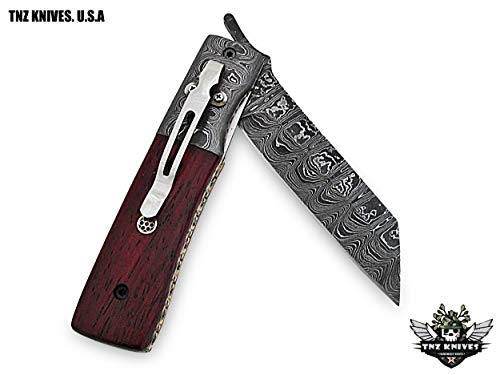 "TNZ-40 USA Damascus Knife 8″ Long 3.5″Blade "" 7oz Hunting Camping Damascus Pocket Folding Knife with Pocket Clip TNZ Hand Made Damascus Knives"