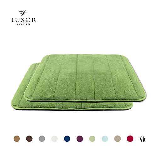 Luxor Linens - Memory Foam Bath Mat (17 x 25 inch) - Giovanni Line - Luxurious, Super Soft & Absorbent with Anti-Slip Backing - Available in a Wide Variety of Colors (2-Piece Set, Sage)