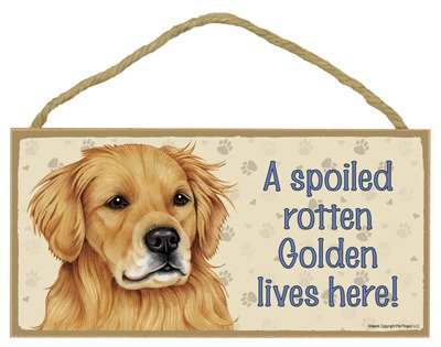 (SJT ENTERPRISES, INC. A Spoiled Rotten Golden Retriever Lives here Wood Sign Plaque 5