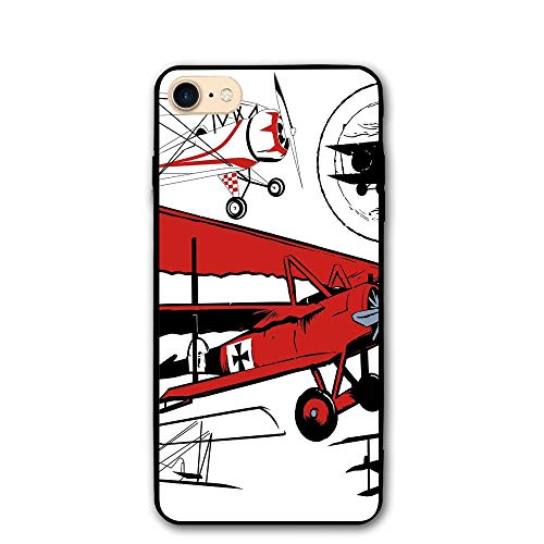 (Haixia IPhone 7/8 Phone Shell 4.7 Inch Vintage Airplane Decor Collection Of Various Biplanes Nostalgic Antique Silhouettes Decorative Red White Black)