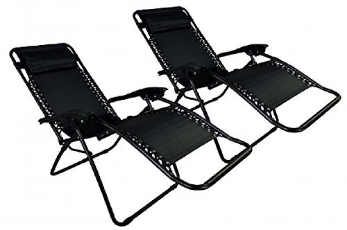 Folding Chair Black Color Set Of 2 Lounge Patio Chairs Outdoor