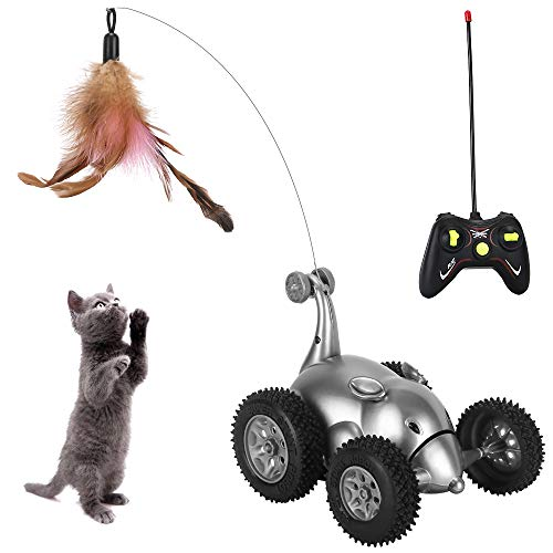 AutoWT Interactive Cat Toy, Mouse Remote Control Cat Toy Car Moving Automatic Robotic Rat Sound Chaser Prank Car for Kitten Stimulate Cat Hunting Instincts Funny Gifts for Pet (No Battery Included)