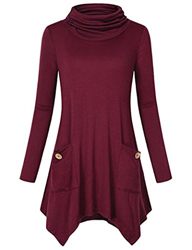ZJFZML Going Out Tops For Women, Girls Turtleneck Long Sleeve Handkerchief Hem Casual Wear Flare Flowy Loose Fitted Cotton Spring Autumn Tunic T Shirt Sweatshirt Outfit With Pockets Burgundy Wine XL