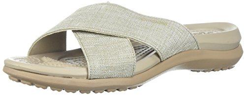 Crocs Women's Capri Shimmer Xband Sandal, Oyster/Cobblestone, 11 M US
