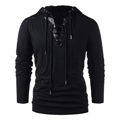Beautyfine Mens Long Sleeve Hooded Tops Winter Drawstring Vintage Leather Patchwork Blouses Black (Best Cheap Mens Clothing Websites Uk)