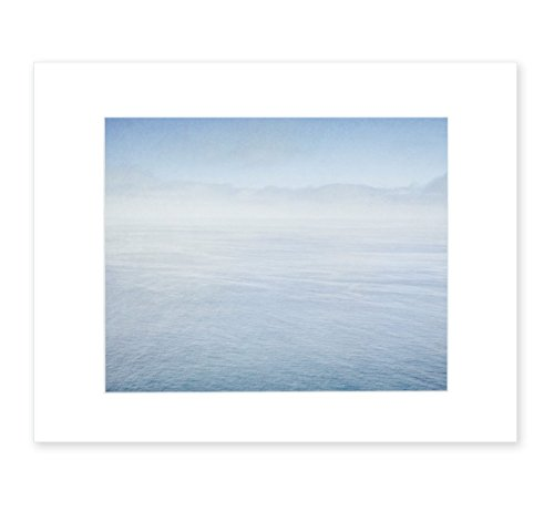 Abstract Blue Ocean Art, Calming Azure Seascape, Coastal Wall Decor, Beach House Picture, 8x10 Matted Photographic Print (fits 11x14 frame), 'Soothing Blue Sea' by Offley Green