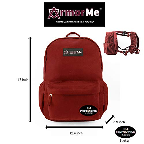 ArmorMe - Backpack with single or double panel protection (Burgundy Red, Double Panel).