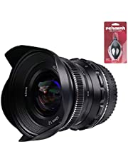 PERGEAR 12mm F2 Wide-Angle Manual Focus Fixed Lens Compatible with for Micro Four Third, M4/3 Mount Mirrorless Cameras with Mini Blower