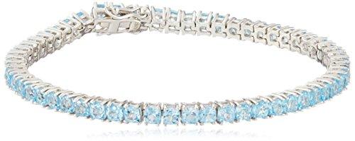 Swiss Blue Topaz Cushion Cut Tennis Bracelet in Sterling Silver (3mm) (Topaz Tennis Bracelet)