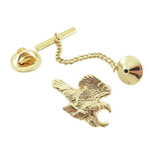 Creative Pewter Designs, Pewter Flying Bald Eagle Tie Tack, Gold Plated, BG051TT