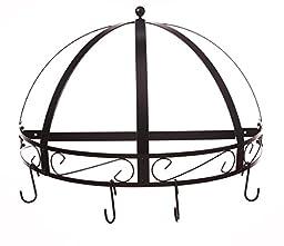 Kinetic Classicor Series Wrought-Iron Semicircle Pot Rack 29134, Black Enamel