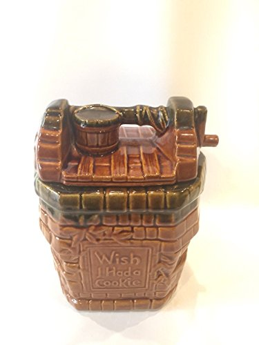 McCoy Glazed Ceramic Vintage Wishing Well Cookie Jar Mid Century Pottery Decor