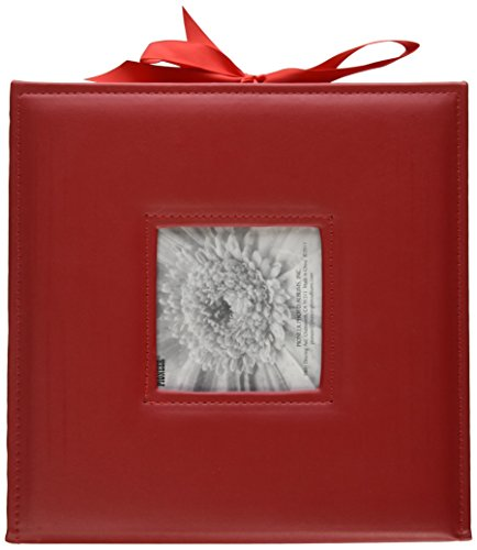 Pioneer Photo Albums 120-Pocket 3-Ring Sewn Leatherette Frame Cover Photo Box for 4 by 6-Inch/5 by 7-Inch/6 by 8-Inch Prints, Red (5x7 Album Photo Christmas)