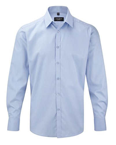 Russell Collection Men's Herringbone Long Sleeve Shirt Light Blue 19