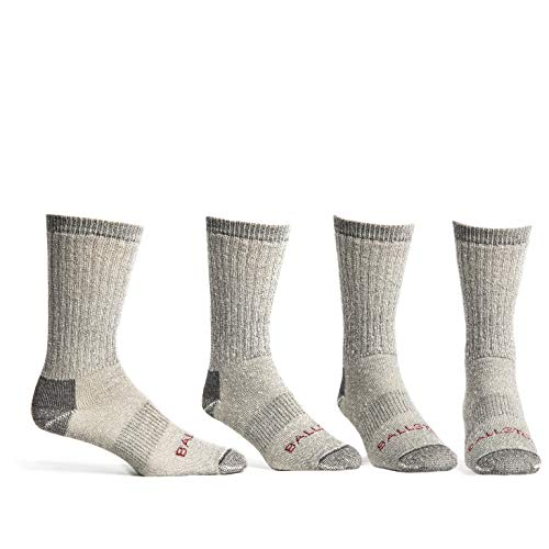Ballston Unisex Medium Weight Thermal 86% Merino Wool Socks - 4 Pairs (L, Lunar Gray)
