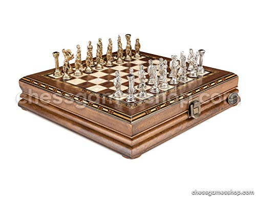 Luxury Chess Set - Antique Walnut Board in Mosaic Art with Bzyantin Chess Pieces - Gift Item ()