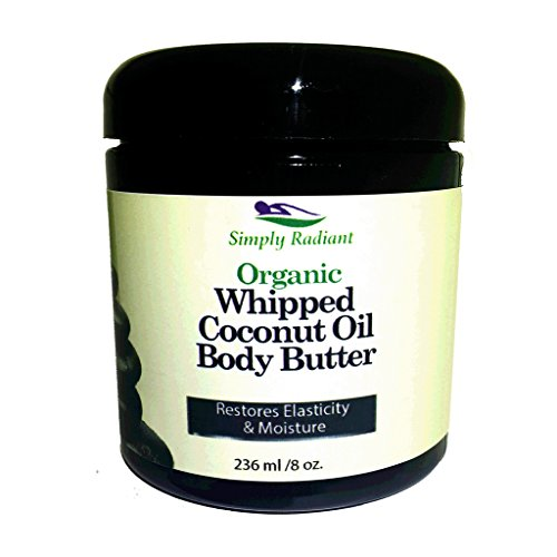 Organic Whipped Coconut Oil Body Butter Lavender Lemon - 4 Ingredients - Chemical Free, Cruelty Free, Vegan Moisturizer by Simply Radiant