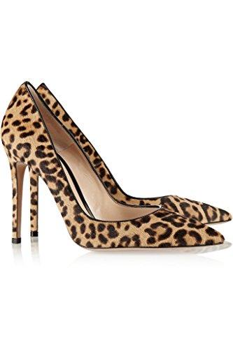 Capelli Da 10cm Qualità leopardo Grande Scarpe Eldof Dei Sera Ufficio Personalizzate Fascia Donne A Cavallo Genuino Sexy Di Punta Pompe Scarpe Delle Di Formato Alta CtgRpwqzn