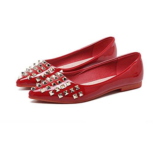 Dames Dames Puntschoen Loafers Flats Comfort Slip-on Klassieke Casual Klinknagels Jurk Loafer Schoenen Rood