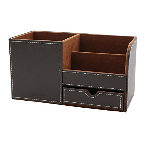 Exerz EX7078 Premium Large Faux Leather Desk Organizer/Desk Tidy/Pen Holder/Multifunctional Organizer (Dark (Brown Leather Organizer)
