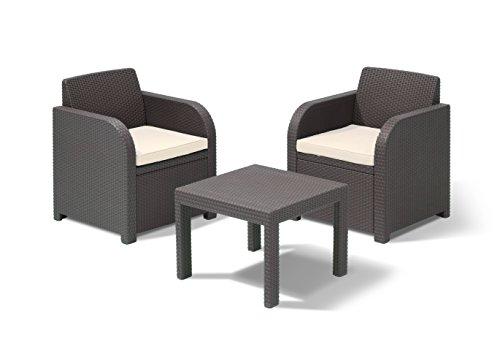 Allibert by Keter Atlanta 2 Seater Rattan Balcony Bistro Set Outdoor Garden Furniture - Graphite with Cream Cushions