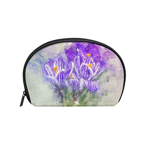 Twill Makeup Bag Small Shell Shape Toiletry Pouch Travel Storage for Women Crocus ()