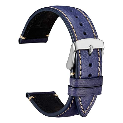 WOCCI 22mm Matte Leather Watch Band,Unisex Casual Wristwatch Strap (Blue/White Stitching)